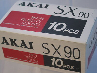 boxed 10 Akai SX-90 Cassette Tapes Made in Japan  1980's