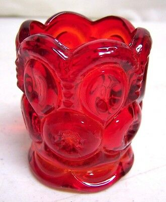 Vintage Ruby Red Amberina Moon & Stars Glass Toothpick Holder Nice