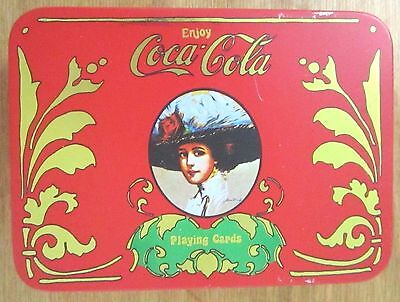 Coca-Cola Playing Cards 2 Sealed Decks in Matching Hinged Tin - Victorian Lady