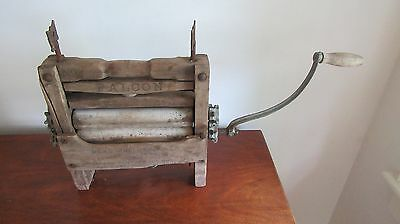 Falcon No 10 Antique Wood and Galvanized Steel Hand Crank 1898 Wringer