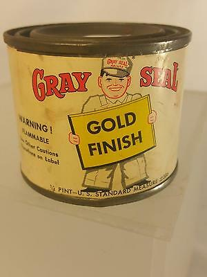 Vintage Gray Seal Gold Finish Enamel Pain Tin Can Paper Label