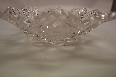 """Vintage Cut Glass Scalloped Sawtooth 6"""" Bowl American Brilliant"""