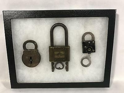 Set of 3 Cast Iron Locks Yale & Town Sargent With Key