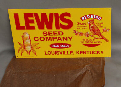 Vintage NOS LEWIS SEED CORN Sign with Red Bird farm KY CARDINAL