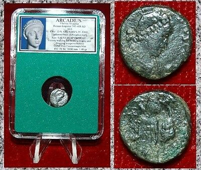Ancient Roman Empire Coin ARCADIUS Victory Dragging Captive By Hair