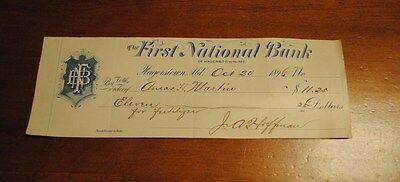 The First National Bank  Hagerstown Md Oct 20, 1896 Fertilizer Check