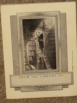 14 NEW oop Self Stick Antioch Book Plates Man on library Ladder