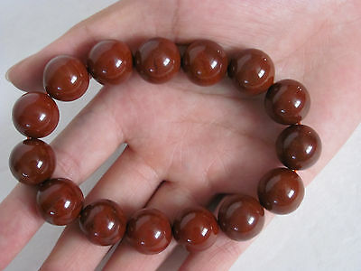 Fine Chinese Red Hard Stone Carved Beads Bracelet