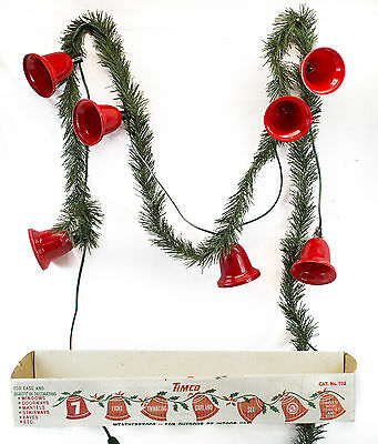 ViNtAgE Timco 7 Red Bell Twinkling light Garland Set with ORIGINAL BOX