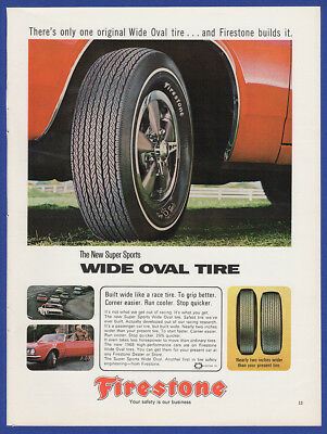 Vintage 1967 FIRESTONE Wide Oval Tires Print Ad 60's