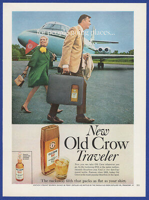 Vintage 1967 OLD CROW Whiskey Fifth Traveler Alcohol Liquor Travel Print Ad 60's