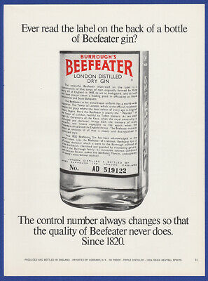 Vintage 1967 BEEFEATER London  Distilled Dry Gin Alcohol Liquor Print Ad 60's