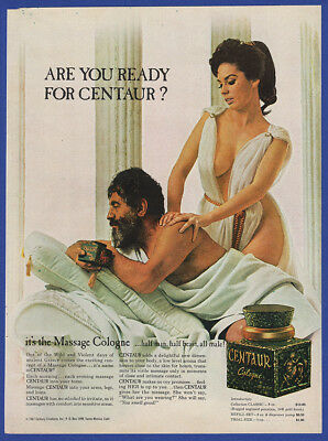 Vintage 1967 CENTAUR Men's Cologne Sexy Lady Giving Massage Print Ad