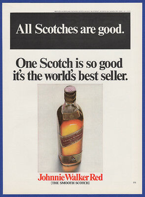 Vintage 1967 JOHNNIE WALKER RED Scotch Whiskey Alcohol Liquor Print Ad 60's