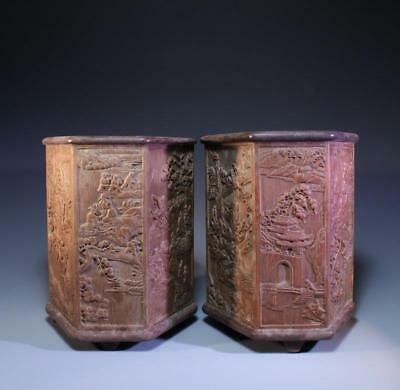 Pair of Chinese Carved Bamboo Brush pots,