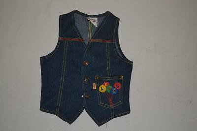 vintage 70s LEVI STRAUSS  Levi's embroidered Kid Balloon indigo DENIM VEST Top