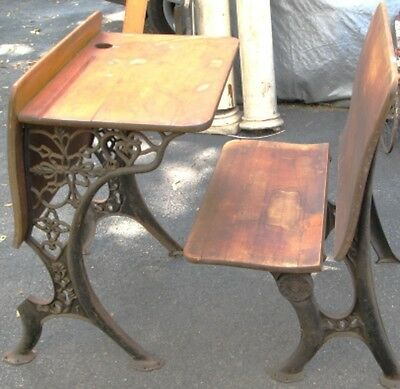 A. H. Andrews Ornate Cast Iron and Maple Two Piece School Desk  1880's-1890's