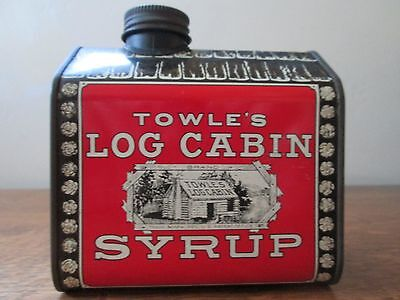 """Vintage 1979 TOWLE'S LOG CABIN SYRUP TIN BANK """"Home Sweet Home"""" w/Coin Slot Cap"""