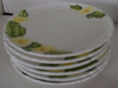 Vintage Lefton China Rustic Daisy Flower Plates Side Salad Lot of 6