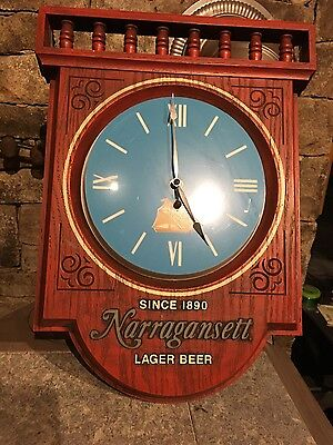 Narragansett Lighted Bar Sign Vintage Beer CLOCK WORKS LIGHT WORKS