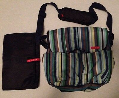 SKIP HOP Diaper Bag Changing Pad blue Green Striped Yellow Canvas