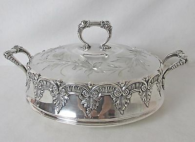 Exquisite James Tufts Silver Plated Covered Server Dolphin Handles