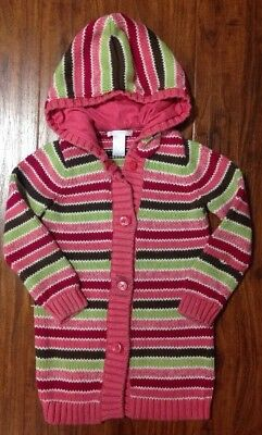 Janie and Jack Girls Striped Sweater Hood Long Cotton Cashmere Cardigan 4 4T