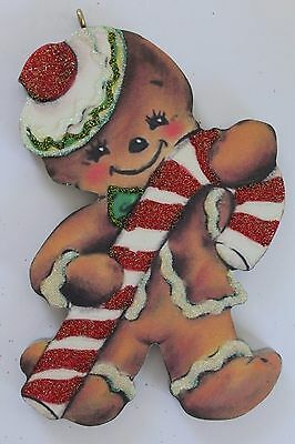 Darling Gingerbread Man * Christmas Ornament * Vtg Card Image * Glittered