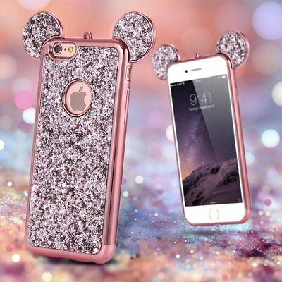 Bling Glitter Soft TPU Case Cute Mickey Ear Back Cover For iPhone XS 6s 7 8 Plus
