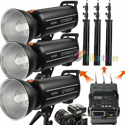 3Pcs Godox QT1200IIM 1200W 1/8000s High Speed Flash + Battery + Trigger + Stand