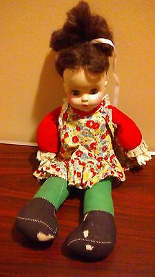 Vintage Horsman Doll soft cloth body vinyl head 1970s Sleepy Green Eyes 14""