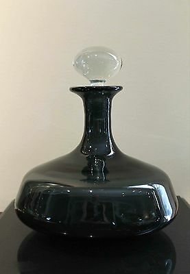 Blenko Wayne Husted Charcoal Decanter with Original Clear Stopper