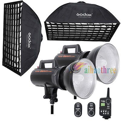 2Pcs Godox Gemini GT300 2x300W High Speed Studio Flash Light Trigger Softbox Kit