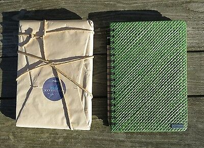 NEW Grassroots lined journal notebook with green basket-weave cover and pencil