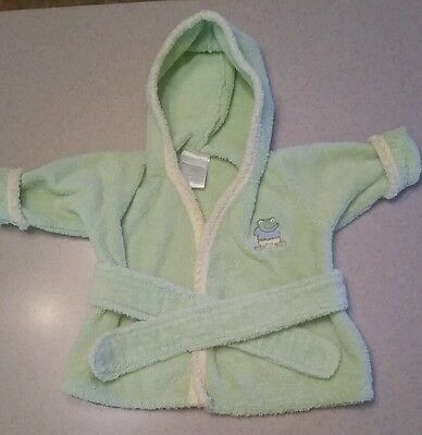 Carter's- Frog- Green Long Sleeve Hooded Terry Cloth Bath Robe- Size 0/9 Mo