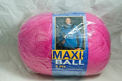 Maxi Ball 8 ply Wool (Colour No 366 pink) New unopened with Pattern
