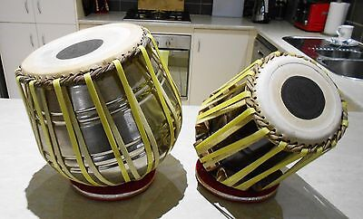 Vintage Indian Tabla Set Strap Tuned Wooden Dayan & Steel Bayan With Cushions