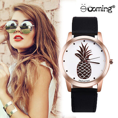 Women Lady PAPHITAK Pineapple Leather Stainless Steel Analog Quartz Wrist Watch