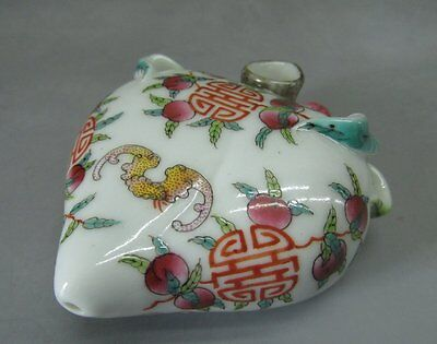 Chinese Bat Peach Hand Painted Porcelain Shuǐ Zhù/Water-jet