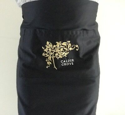 Mid Length Apron - Black with Embroidery