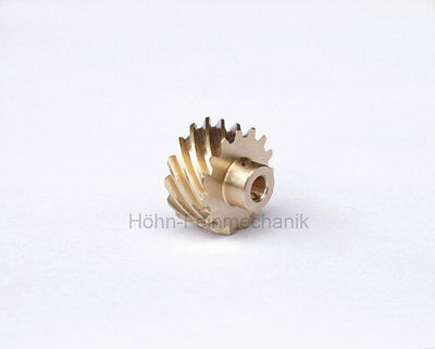 Spur Gear, Helical, 45° Oblique Toothed, Module 0,8, from Brass, Z15