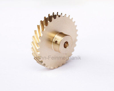 Spur Gear, Helical, 45° Oblique Geared, Module 0,8, made from Brass, Z30