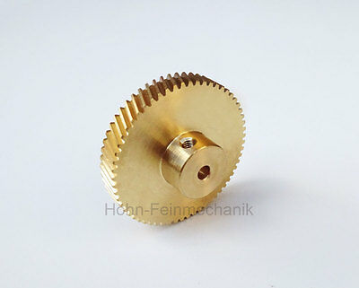 Spur Gear, Gear, 20° Oblique Toothed, Module 0,5, from Brass, Z60, Right