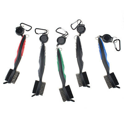 Dual-Bristle Golf Club Cleaning Brush Retractable Zip-line Club Groove Cleaner
