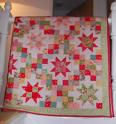 Handmade Patchwork Quilt ~Strawberry Fields Moda~ Double Size~ Shabby Chic Gift~