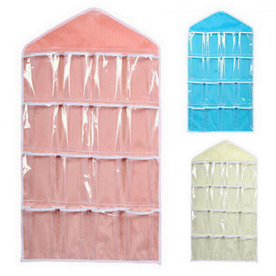 16 Clear Pockets Organizer Home Shoe Rack Hanger Storage Over Door Hanging Bags