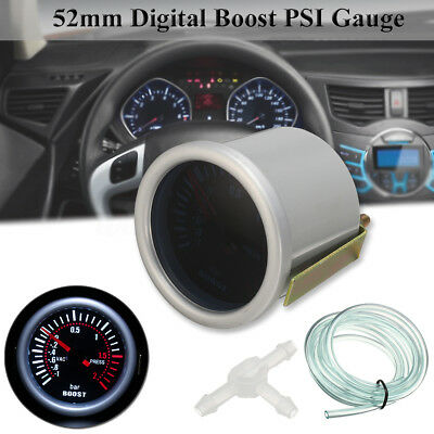 "2"" 52mm SMOKED BAR WHITE LED LIGHT TURBO BOOST CAR AUTO GAUGE METER Dials 12V"