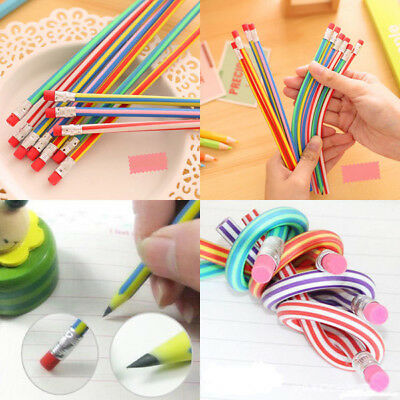 3pcs Colorful Magic Bendy Flexible Soft Pencil w/ Eraser Gift Kids Study Writing
