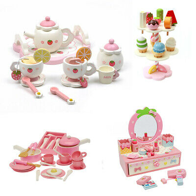 New KIDS WOODEN Pretend Play Toy Tea Set Cooking Set Play Food