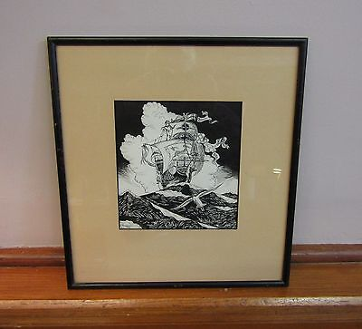 * Vintage Man-Of-War Pirate Tall Ship  * India Ink Drawing * Signed 1928 *